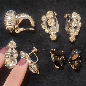 Signed Vintage Clip On Earrings Antique Crystals